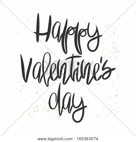 Romantic decorative poster with handdrawn lettering. Modern ink calligraphy. Handwritten black phrase and golden messy texture on white. Trendy vector design for Valentine Day or wedding