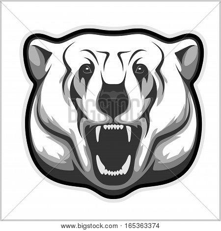 polar bear head profile - isolated black and white vector