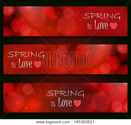 Spring is love - blurred, bokeh design, red color background