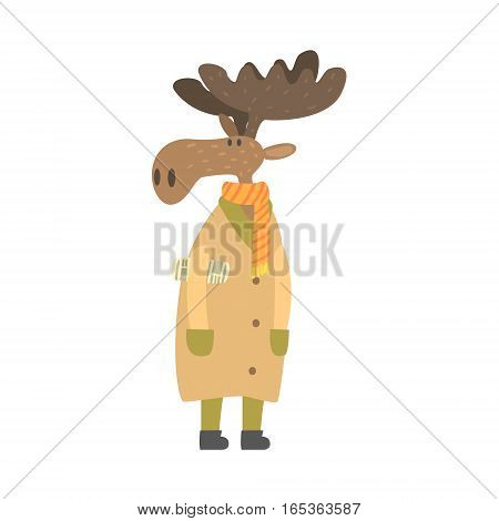 Moose In Long Coat With Newspaper Under Arm, Forest Animal Dressed In Human Clothes Smiling Cartoon Character. Vector Childish Flat Illustration With Funky Woodland Fauna.