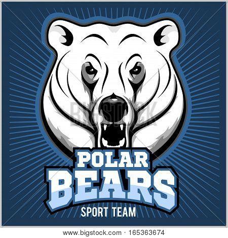 Polar Bear Head mascot - vector illustration on blue background