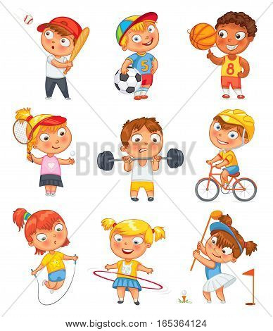 Sports and fitness. Skipping rope, hula hoop, golf, cycle racing, weight lifter, tennis, basketball, football, baseball. Funny cartoon character. Vector illustration. Isolated on white background. Set