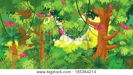 In the jungle. Vector cartoon illustration of background jungle