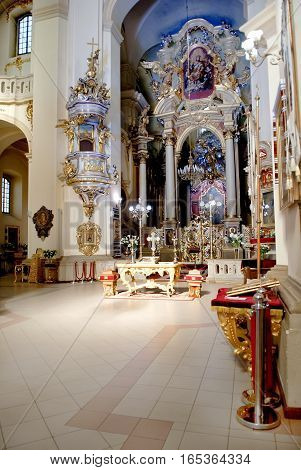 Lviv Ukraine - July 21 2016: interior of the St. George's Cathedral is a Ukrainian Greek Catholic Church. Baroque-rococo cathedral was constructed between 1744-1760