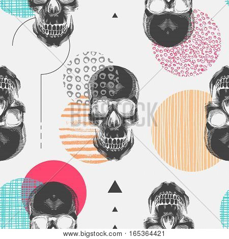 Seamless pattern with black human skulls and colorful circles of different textures. Modern and creative backdrop. Vector illustration in pop art style for wallpaper, wrapping paper, textile print