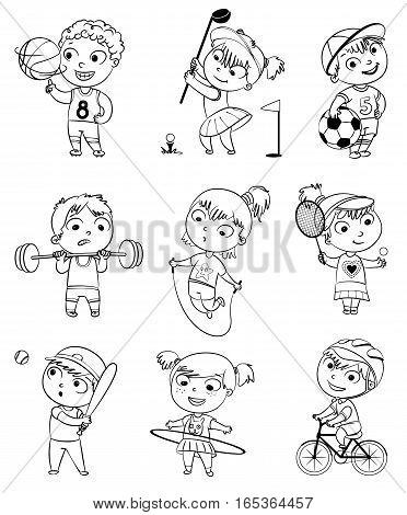 Sports and fitness. Skipping rope, hula hoop, golf, cycle racing, weight lifter, tennis, basketball, football, baseball. Funny cartoon character. Vector illustration. Coloring book. Set