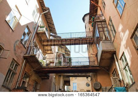 Old european courtyard of an apartment house