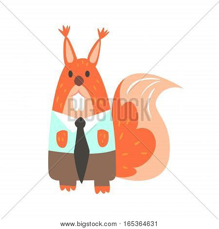 Squirrel In Office Clothes With Tie, Forest Animal Dressed In Human Clothes Smiling Cartoon Character. Vector Childish Flat Illustration With Funky Woodland Fauna.