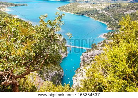 Gorges du Verdon, Provence in France, Europe. Beautiful view on lac de sainte-croix on summer day.