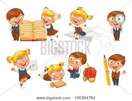 Back to school. Pupils read the textbook. Children do homework. Girl showing a good score. Boy looking through a magnifying glass. Boy draws big pencil drawing. Isolated on white background. Set
