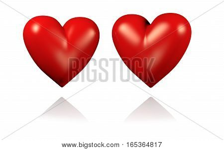 3D illustration of Two Big and Red Hearts with White Background