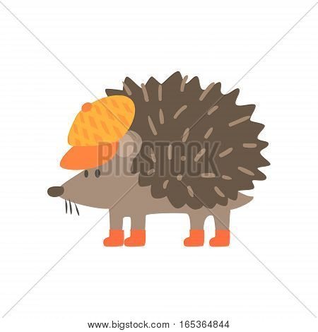Hedgehog In Yellow Cap, Forest Animal Dressed In Human Clothes Smiling Cartoon Character. Vector Childish Flat Illustration With Funky Woodland Fauna.
