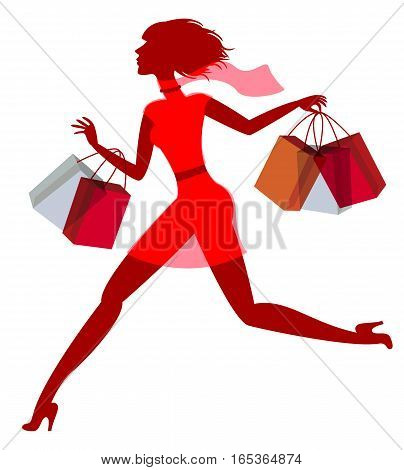 A girl hurries shopping on sale. Vector illustration. Isolated on white background