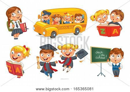 Back to school. Pupils in school uniform. Children ride the school bus. Schoolgirl reading a book. Schoolboy writing on the chalkboard. Vector illustration isolated on white background. Set