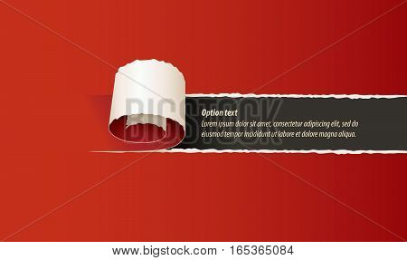Curl of red paper. Torn paper. Set of infographics elements in the form of paper tape for various purposes. Vector illustration