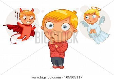 Choice between good and evil. Hand-drawn. Funny cartoon character. Vector illustration