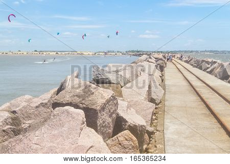 Kitesurfing At Cassino Beach