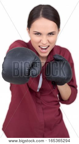 Angry Woman with Boxing Gloves Attacking with Arm - Isolated