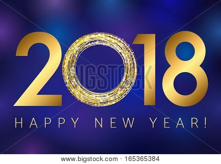 New year 2018 gold colored vector logo. Happy holidays colorful greeting card with shining stars, lighting sparks and figures 2018 on abstract blue background.