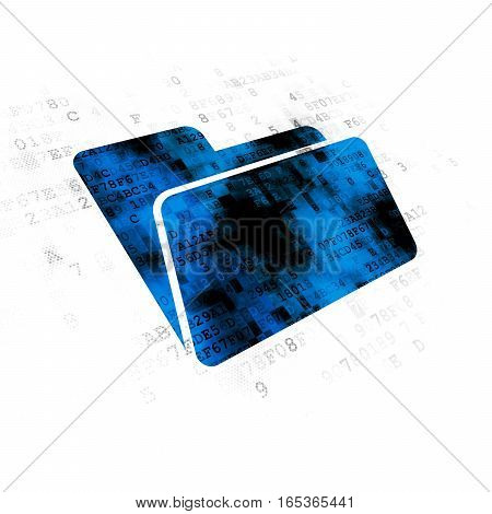 Business concept: Pixelated blue Folder icon on Digital background