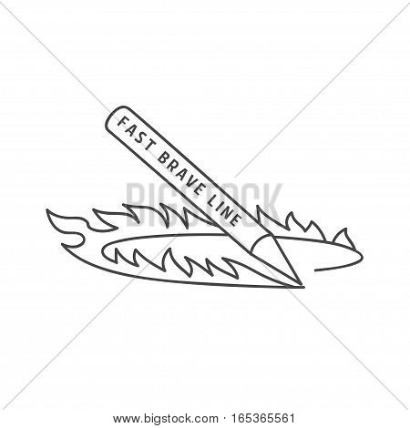 Fast fire pencil logo, isolated vector illustration