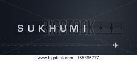 3D Rendering retro Flip Board Capital Sukhumi