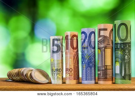 Five ten twenty fifty and one hundred euro rolled bills banknotes with euro coins on green blurred bokeh background.