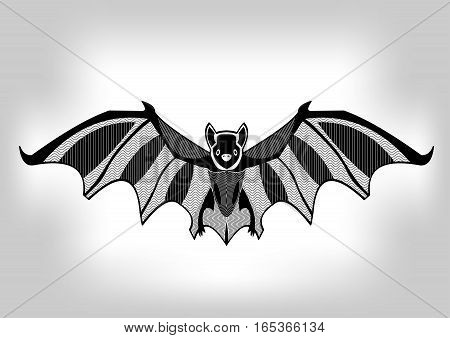 Bat black and white stylized ornamental symmetric drawing isolated animal on gray gradient background useful as decoration tattoo template emblem