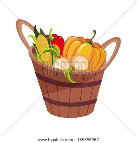 Fresh Vegetables Harvest Set In Wooden Bucket, Farm And Farming Related Illustration In Bright Cartoon Style. Organic And Natural Product Symbol Colorful Vector Illustration.