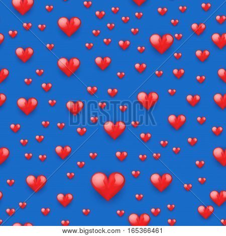 Seamless pattern with realistic beautiful red heart. Love and Holiday theme. Happy Valentines day. Vector illustration.