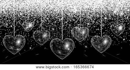 Romantic design with hearts on an abstract sparkling background