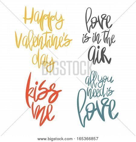 Set of 4 decorative handdrawn lettering. Modern ink calligraphy. Handwritten colorful Valentines Day phrases isolated on white background. Trendy vector design elements for decor, cards and posters