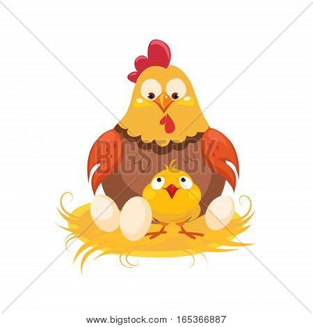Mother And Baby Chicken In The Nest With Couple Of Eggs, Farm And Farming Related Illustration In Bright Cartoon Style. Organic And Natural Product Symbol Colorful Vector Illustration.