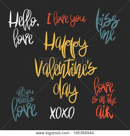 Set of 7 decorative handdrawn lettering. Modern ink calligraphy. Handwritten colorful Valentines Day phrases isolated on black background. Trendy vector design elements for decor, cards and posters
