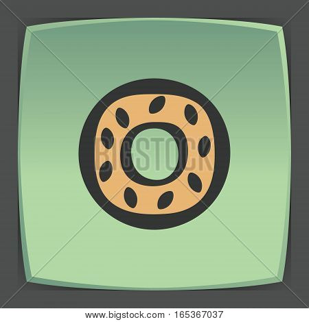 Vector outline sweet donut food icon on green flat square plate. Elements for mobile concepts and web apps. Modern infographic logo and pictogram.