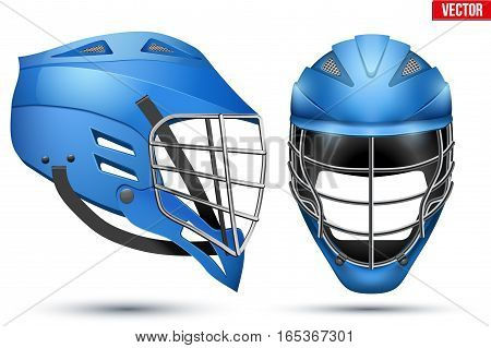 Blue Lacrosse Helmet Set. Front and Side View. Sport goods and equipment. Vector Illustration isolated on white background.