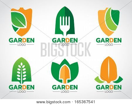 shovel logo for agricultural and gardening vector set design