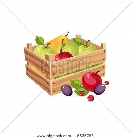 Wodden Crate Full Of Garden Fruits, Farm And Farming Related Illustration In Bright Cartoon Style. Organic And Natural Product Symbol Colorful Vector Illustration.
