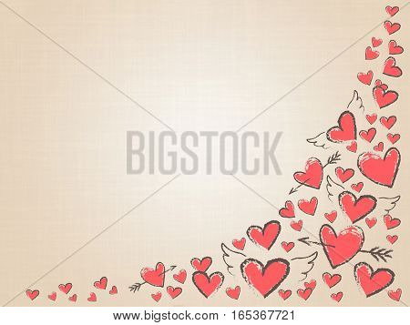 Beautiful love hearts on vintage background. Valentine Day background with pink hand drawn hearts. Raster illustration.