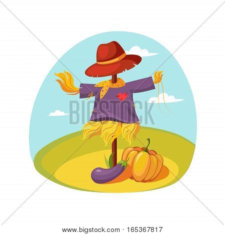 Scarecrow In Clothes Standing On A Field With Pumpkin Under , Farm And Farming Related Illustration In Bright Cartoon Style. Organic And Natural Product Symbol Colorful Vector Illustration.