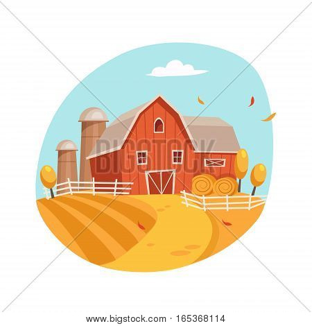 Autumn Scenery With House And Barn On The Field, Farm And Farming Related Illustration In Bright Cartoon Style. Organic And Natural Product Symbol Colorful Vector Illustration.
