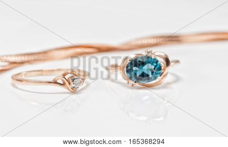Gold Ring With Diamond And Dark Topaz