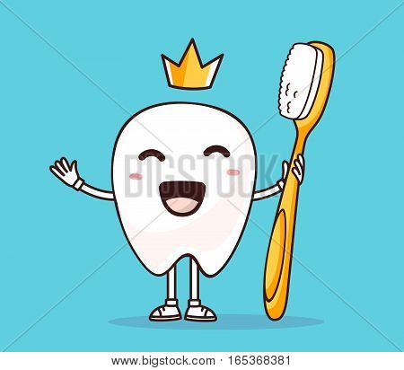 Vector illustration of smile white tooth with yellow crown holding toothbrush in hand on blue background. Creative cartoon tooth dentistry concept. Doodle style. Thin line art flat design of character tooth