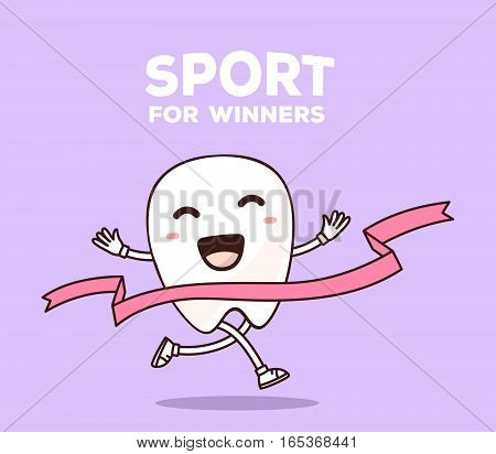 Vector Illustration Of Smile White Tooth Running Through The Tape To Win On Purple Background. Creat