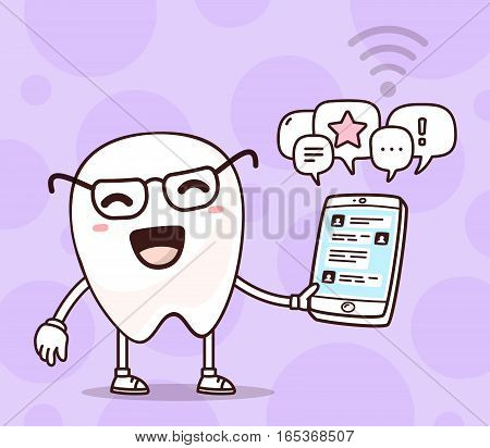 Vector Illustration Of Smile White Tooth Holding Phone On Purple Background. Chatting Cartoon Tooth,
