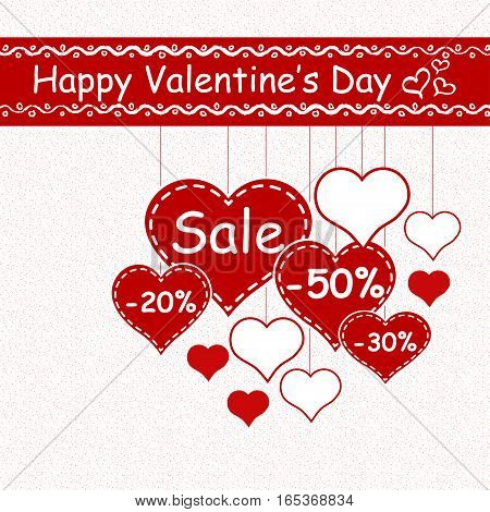 Valentine`s day sale design template - Vector Illustration