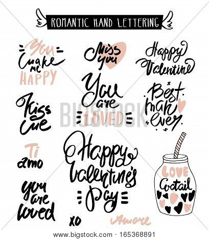 Romantic Hand lettering. Love quotes. Beautiful hand drawn lettering.Vector Illustration