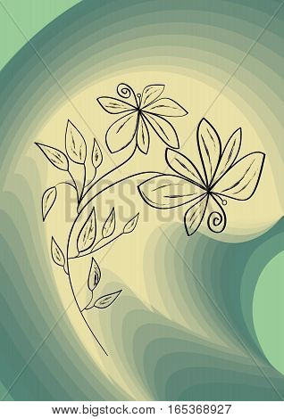 Black flower drawing on abstract swirly green background