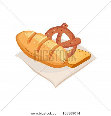 Freshly Baked Bread, Pretzel And Toast, Farm And Farming Related Illustration In Bright Cartoon Style. Organic And Natural Product Symbol Colorful Vector Illustration.