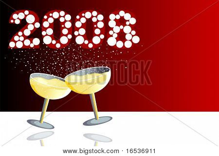 Illustration with two glasses of champagne in a new year celebration.